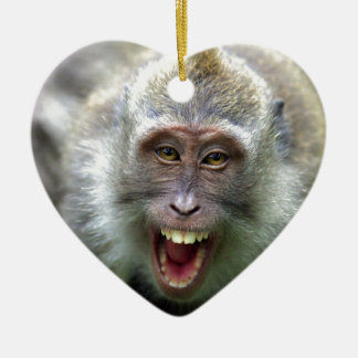Macaque monkey christmas ornament