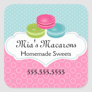 Macaron Bakery Box Seal Square Sticker