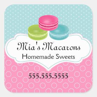 Macaron Bakery Box Seal Square Sticker