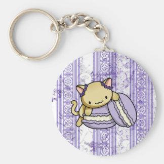 Macaron Kitty Basic Round Button Key Ring