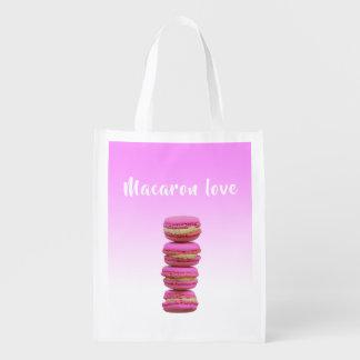 Macaron love pink on a pink backdrop reusable grocery bag