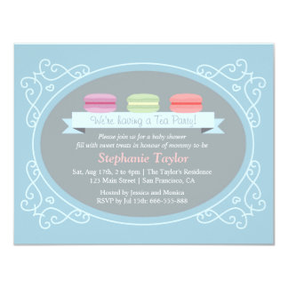 Macaron Tea Party Baby Shower, Blue and Grey 11 Cm X 14 Cm Invitation Card
