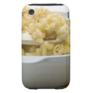 Macaroni cheese in baking dish with wooden iPhone 3 tough case
