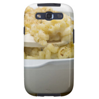 Macaroni cheese in baking dish with wooden samsung galaxy SIII covers