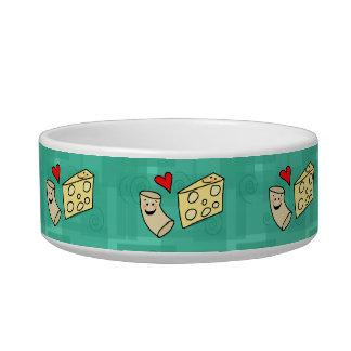 Macaroni Loves Cheese, Cute Mac N Cheese Cartoon Pet Food Bowls