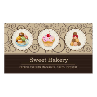Macarons and Cupcakes Logos Elegant Bakery Store Pack Of Standard Business Cards