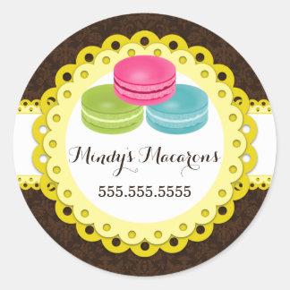 Macarons Bakery Damask Yellow Scallop Seals Round Sticker