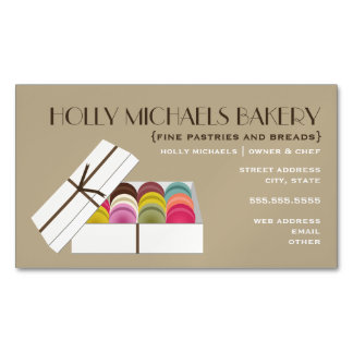Macarons Bakery Magnetic Business Cards