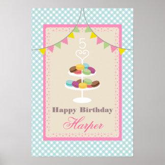 Macarons Birthday Poster - Blue Gingham