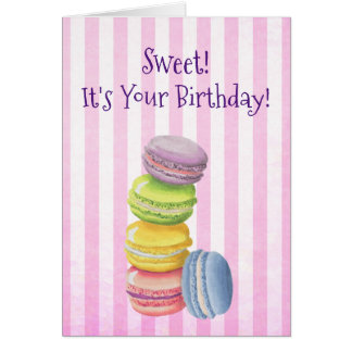 Macarons French Pastry in Watercolors Birthday Card