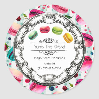 Macarons French Pastry in Watercolors Business Round Sticker