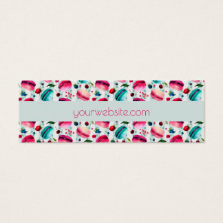 Macarons French Pastry With Berries And Polka Dots Mini Business Card