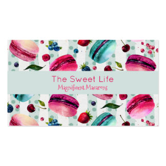 Macarons French Pastry With Berries And Polka Dots Pack Of Standard Business Cards