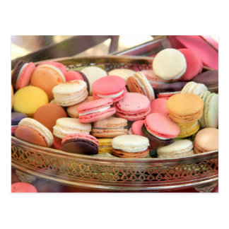 Macarons in different colors postcard