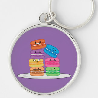 Macaroon Macaroons Happy Foods stacked up Macaron Silver-Colored Round Key Ring