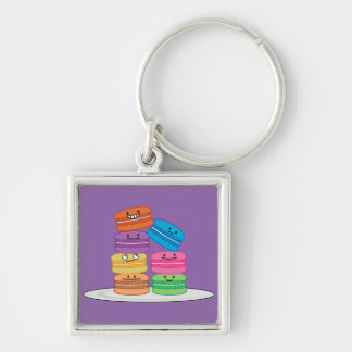 Macaroon Macaroons Happy Foods stacked up Macaron Silver-Colored Square Key Ring
