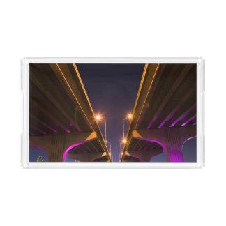 MacArthur Causeway seen from underneath at dusk Acrylic Tray