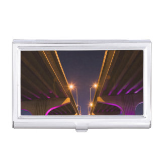 MacArthur Causeway seen from underneath at dusk Business Card Holder