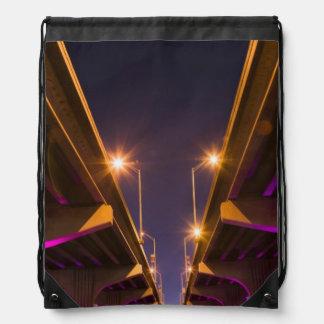 MacArthur Causeway seen from underneath at dusk Drawstring Bag