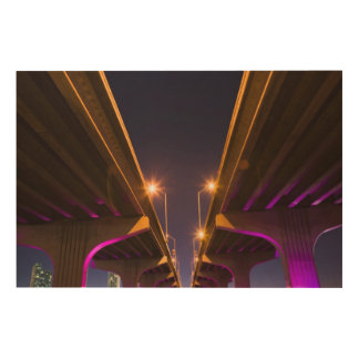 MacArthur Causeway seen from underneath at dusk Wood Prints