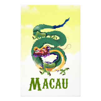 Macau China Vintage style travel poster Personalised Stationery
