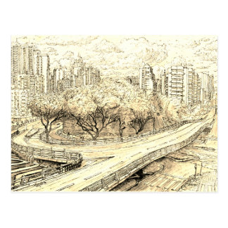 Macau. urban sketch postcard
