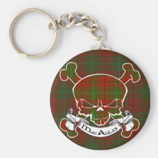 MacAulay Tartan Skull Basic Round Button Key Ring