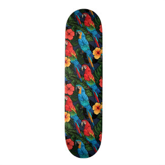 Macaw And Hibiscus Pattern 21.3 Cm Mini Skateboard Deck