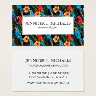 Macaw And Hibiscus Pattern | Add Your Name Business Card