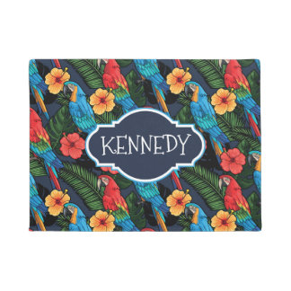 Macaw And Hibiscus Pattern | Add Your Name Doormat