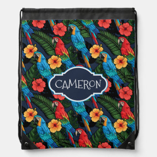 Macaw And Hibiscus Pattern | Add Your Name Drawstring Bag