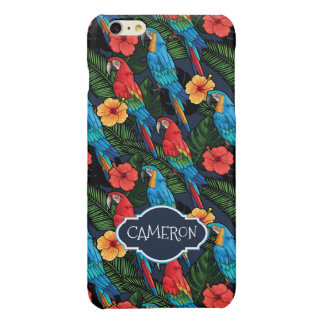 Macaw And Hibiscus Pattern | Add Your Name iPhone 6 Plus Case