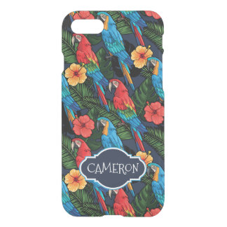 Macaw And Hibiscus Pattern | Add Your Name iPhone 8/7 Case