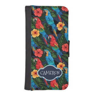 Macaw And Hibiscus Pattern | Add Your Name iPhone SE/5/5s Wallet Case