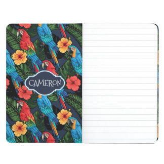 Macaw And Hibiscus Pattern | Add Your Name Journal