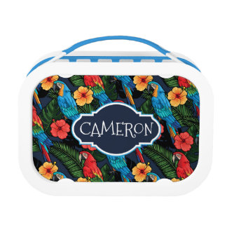 Macaw And Hibiscus Pattern | Add Your Name Lunch Box
