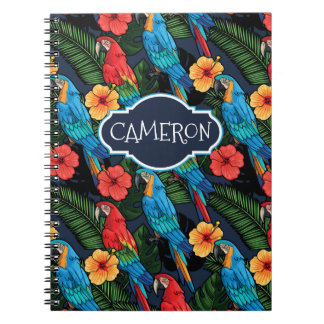 Macaw And Hibiscus Pattern   Add Your Name Notebook
