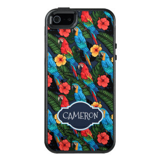 Macaw And Hibiscus Pattern | Add Your Name OtterBox iPhone 5/5s/SE Case