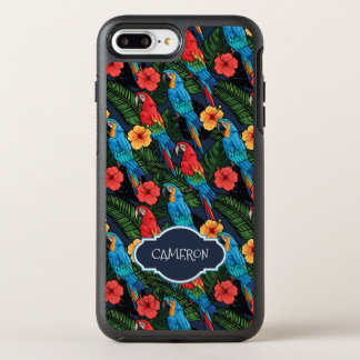 Macaw And Hibiscus Pattern | Add Your Name OtterBox Symmetry iPhone 8 Plus/7 Plus Case