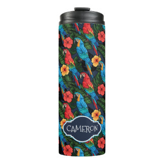 Macaw And Hibiscus Pattern | Add Your Name Thermal Tumbler