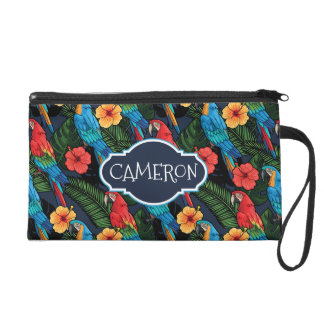 Macaw And Hibiscus Pattern | Add Your Name Wristlet
