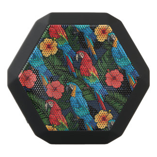 Macaw And Hibiscus Pattern Black Bluetooth Speaker