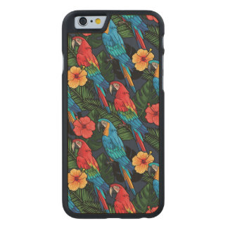 Macaw And Hibiscus Pattern Carved® Maple iPhone 6 Slim Case