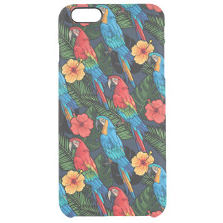 Macaw And Hibiscus Pattern Clear iPhone 6 Plus Case