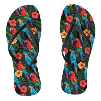 Macaw And Hibiscus Pattern Flip Flops
