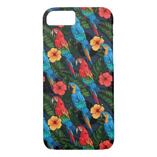 Macaw And Hibiscus Pattern iPhone 7 Case