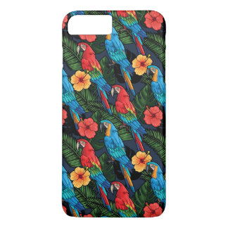 Macaw And Hibiscus Pattern iPhone 7 Plus Case