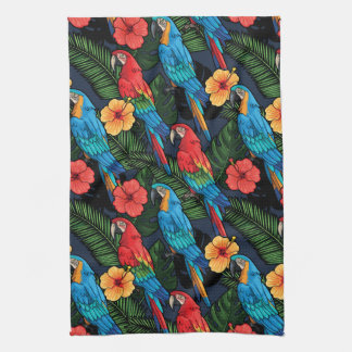 Macaw And Hibiscus Pattern Tea Towel