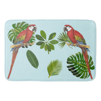 Macaw And Tropical Foliage Bath Mat