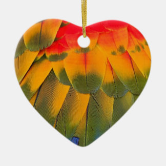 Macaw feathers ceramic heart decoration